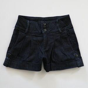 Hudson Dark Denim Cuffed Pleated Jean Shorts  24